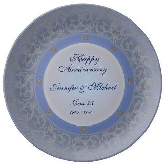 柔らかく青い記念日のプレート 磁器プレート