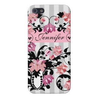 柔らかさの名前のピンク及び黒いダマスク織は縞で飾ります iPhone 5 COVER