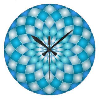 柱時計の曼荼羅の抽象芸術のはすの花 ラージ壁時計