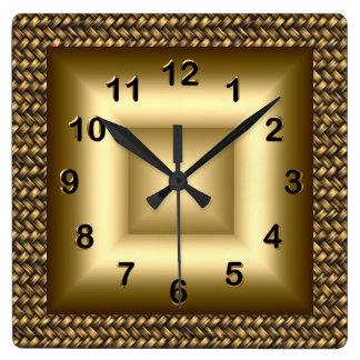 柱時計の金属の一見の黒の青銅の金ゴールド2 スクエア壁時計