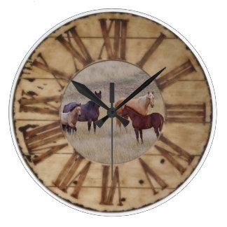 柱時計の馬および子馬の西部の素朴な時計 ラージ壁時計