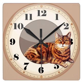 柱時計頭が切れるな猫のあること スクエア壁時計