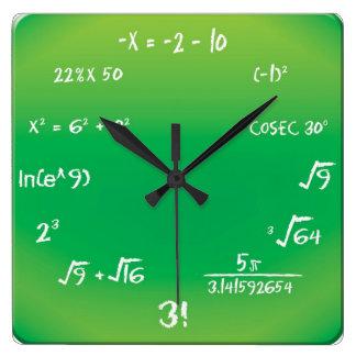 柱時計-数学のポップ・アートのなクイズの時計 スクエア壁時計