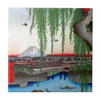 柳と富士、広重のヤナギおよび富士山、Hiroshige、Ukiyo-e タイル