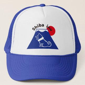 柴犬と富士山のイラストの帽子の柴犬および富士山帽子 キャップ