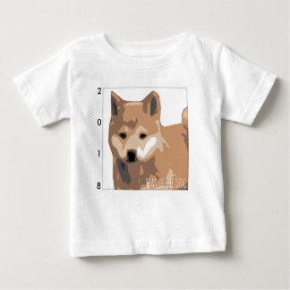 柴犬のイラストレーション犬年の2018年のベビーT ベビーTシャツ