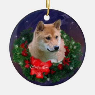 柴犬のクリスマスのギフトのオーナメント セラミックオーナメント