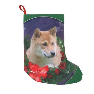 柴犬のクリスマスのリース スモールクリスマスストッキング