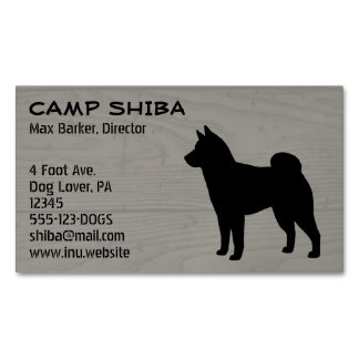 柴犬のシルエットの木製のスタイル マグネット名刺
