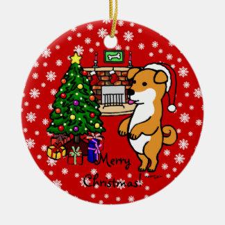 柴犬の子犬のクリスマス セラミックオーナメント