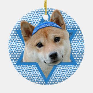 -柴犬ハヌカーのダビデの星 セラミックオーナメント