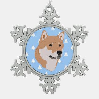柴犬犬のホワイトクリスマスの木パターン スノーフレークピューターオーナメント