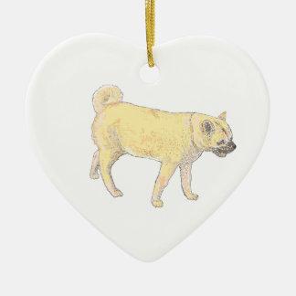 柴犬犬。 かわいい金。 プロダクトに名前を加えて下さい セラミックオーナメント