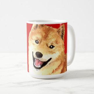 柴犬色のブロック コーヒーマグカップ