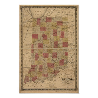 柵および町区を描写するインディアナの1858地図 ポスター
