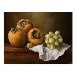 柿およびブドウの芸術のクラシックな静物画 ポストカード