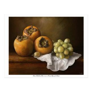 柿およびブドウのpostcが付いているクラシックな静物画 ポストカード