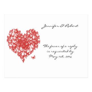 柿のRSVPを結婚するばら色の蝶ハート ポストカード