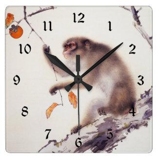 柿木の猿 スクエア壁時計