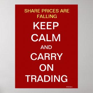株の相場の秋は穏やかで感動的な貿易業者を保ちます ポスター