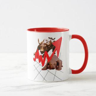 株式市場のマグの赤 マグカップ