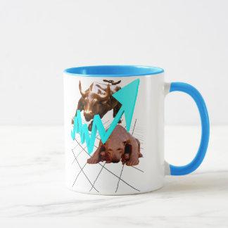 株式市場のマグの青 マグカップ