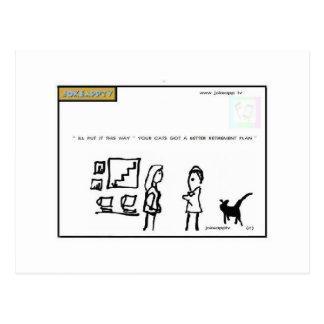 株式市場の漫画のメッセージカード ポストカード