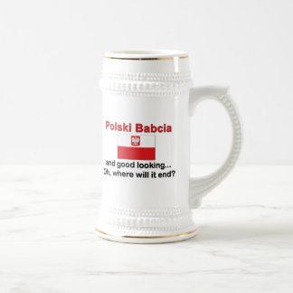 格好良いPolski Babcia (祖母) ビールジョッキ