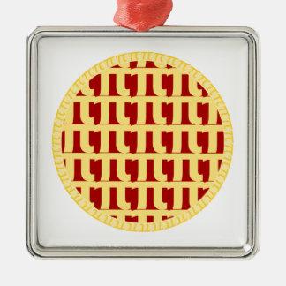 格子パイ-赤(さくらんぼかいちごまたは等) - Pi日 メタルオーナメント