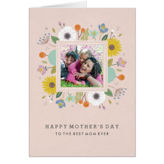 格子垣の母の日の挨拶状-赤面 カード