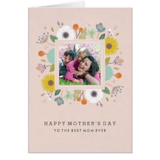 格子垣の母の日の挨拶状-赤面 グリーティングカード