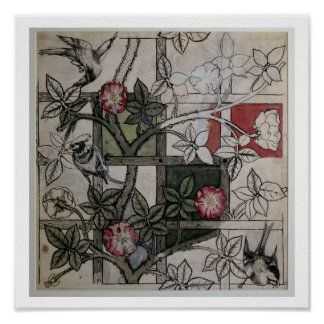 「格子垣」の壁紙のデザイン、1のためのオリジナルのアートワーク ポスター