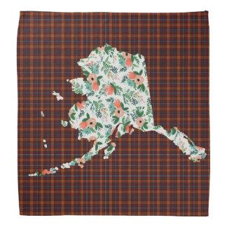 格子縞および花のアラスカの州のバンダナ バンダナ