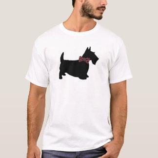 格子縞のちょうネクタイのTシャツのスコッチテリア Tシャツ