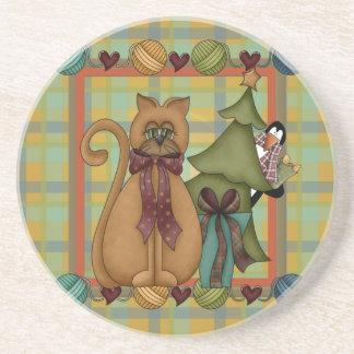 格子縞のクリスマスのコースターの子猫 コースター