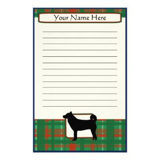 格子縞のクリスマスの柴犬の文房具 便箋
