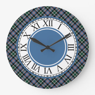 格子縞のコロラド州の青、黒い、および緑のタータンチェック ラージ壁時計