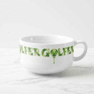 格子縞のゴルファーのティーの写実的なスープボウルのマグ スープマグ