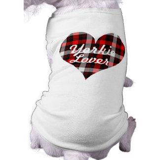 格子縞のデザインのヨークシャーテリアの恋人犬のTシャツ ペット服