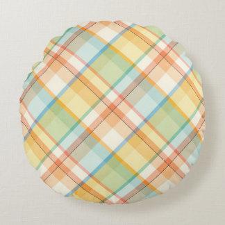 格子縞のパステルの円形の装飾用クッション ラウンドクッション