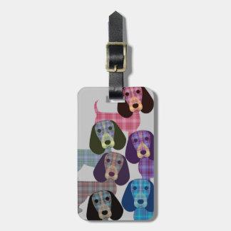 格子縞のビーグル犬-荷物のラベル ラゲッジタグ
