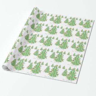 格子縞のモダンなクリスマスツリー ラッピングペーパー