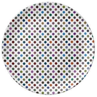 格子縞の水玉模様パターン 磁器プレート