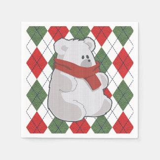 格子縞の白くまの醜いクリスマスのセーター スタンダードカクテルナプキン