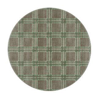 格子縞の緑および茶色 カッティングボード