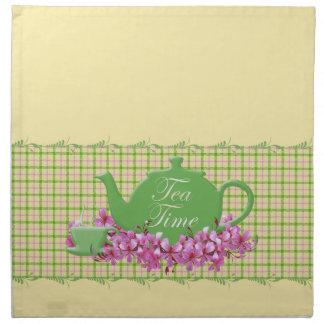 格子縞の茶時間ティーポットの春のピンク ナプキンクロス