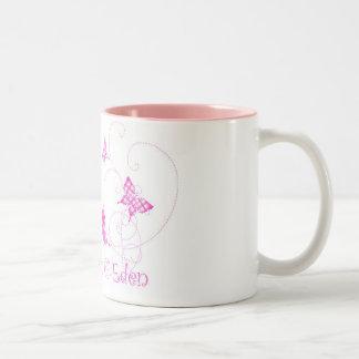 格子縞の蝶エデンの園 ツートーンマグカップ