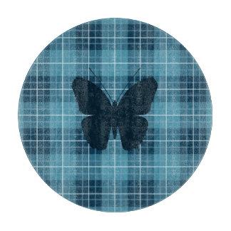 格子縞の青の蝶 カッティングボード