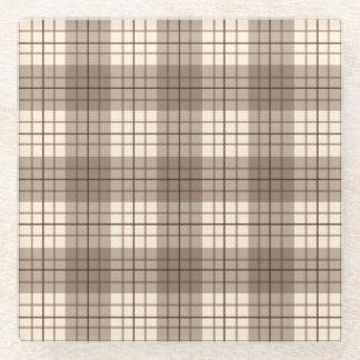 格子縞パターン茶色及びクリーム ガラスコースター
