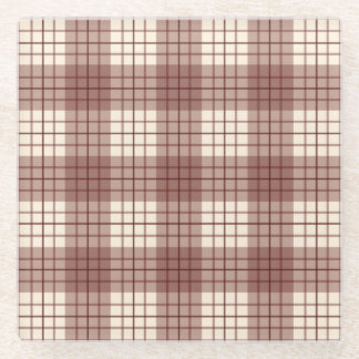 格子縞パターン赤及びクリーム ガラスコースター